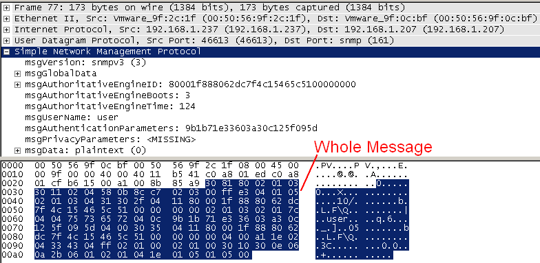 SNMPv3 authenticated message