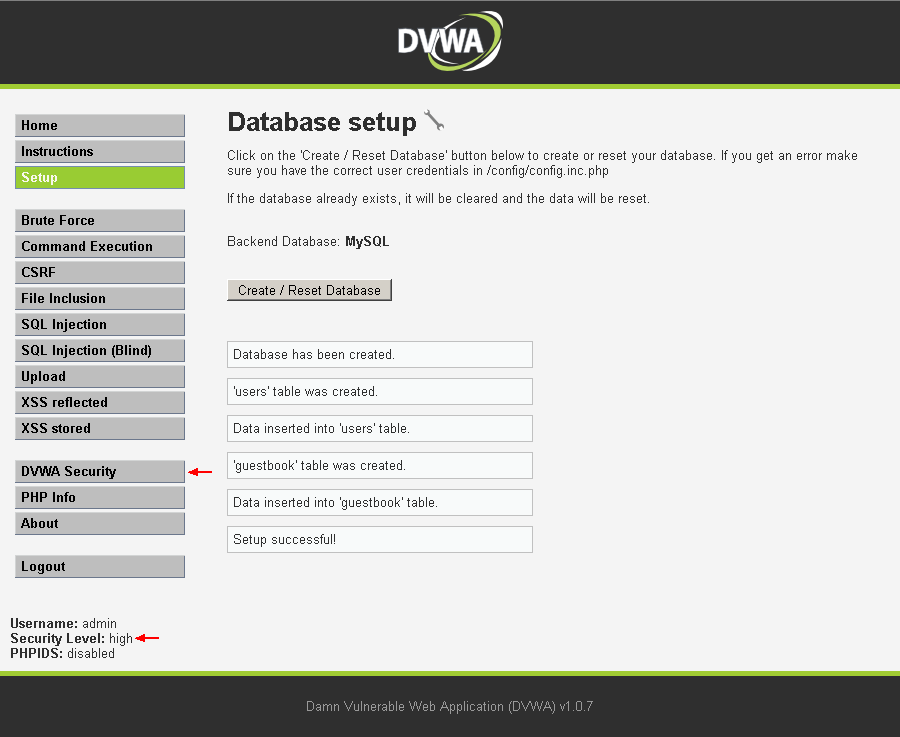 DVWA db_create