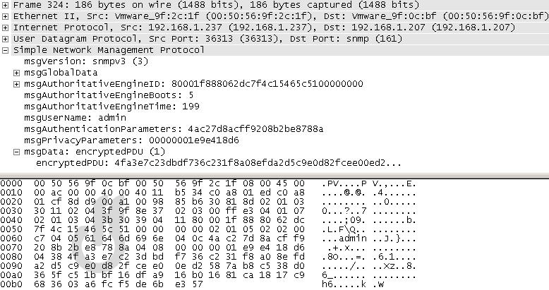 SNMPv3 pcap encryption DES
